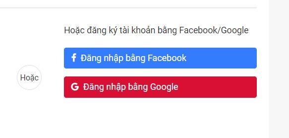Đăng ký qua Google và Facebook