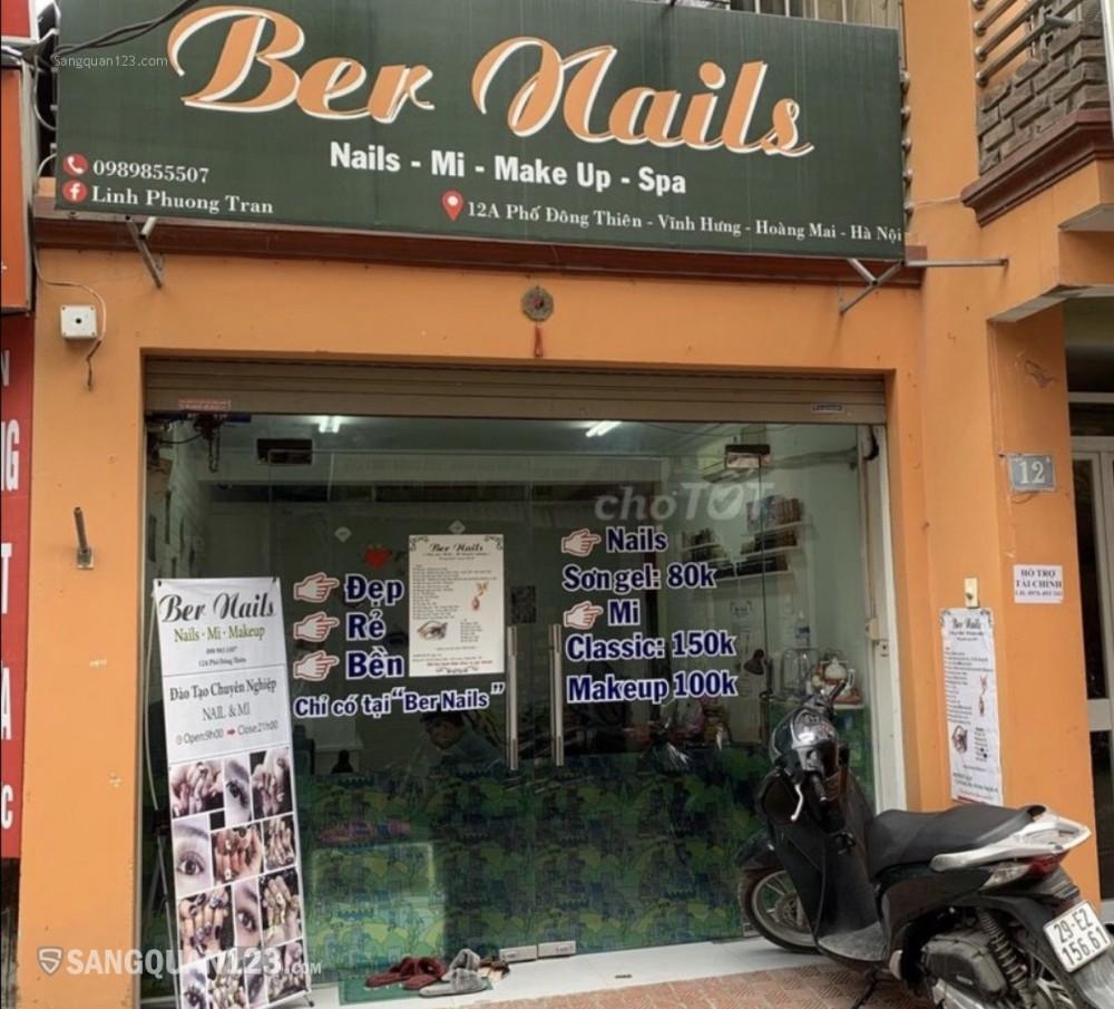 Sang nhượng tiệm nails mi 20m2 mặt phố Đông Thiên phường Vĩnh Hưng quận Hoàng Mai