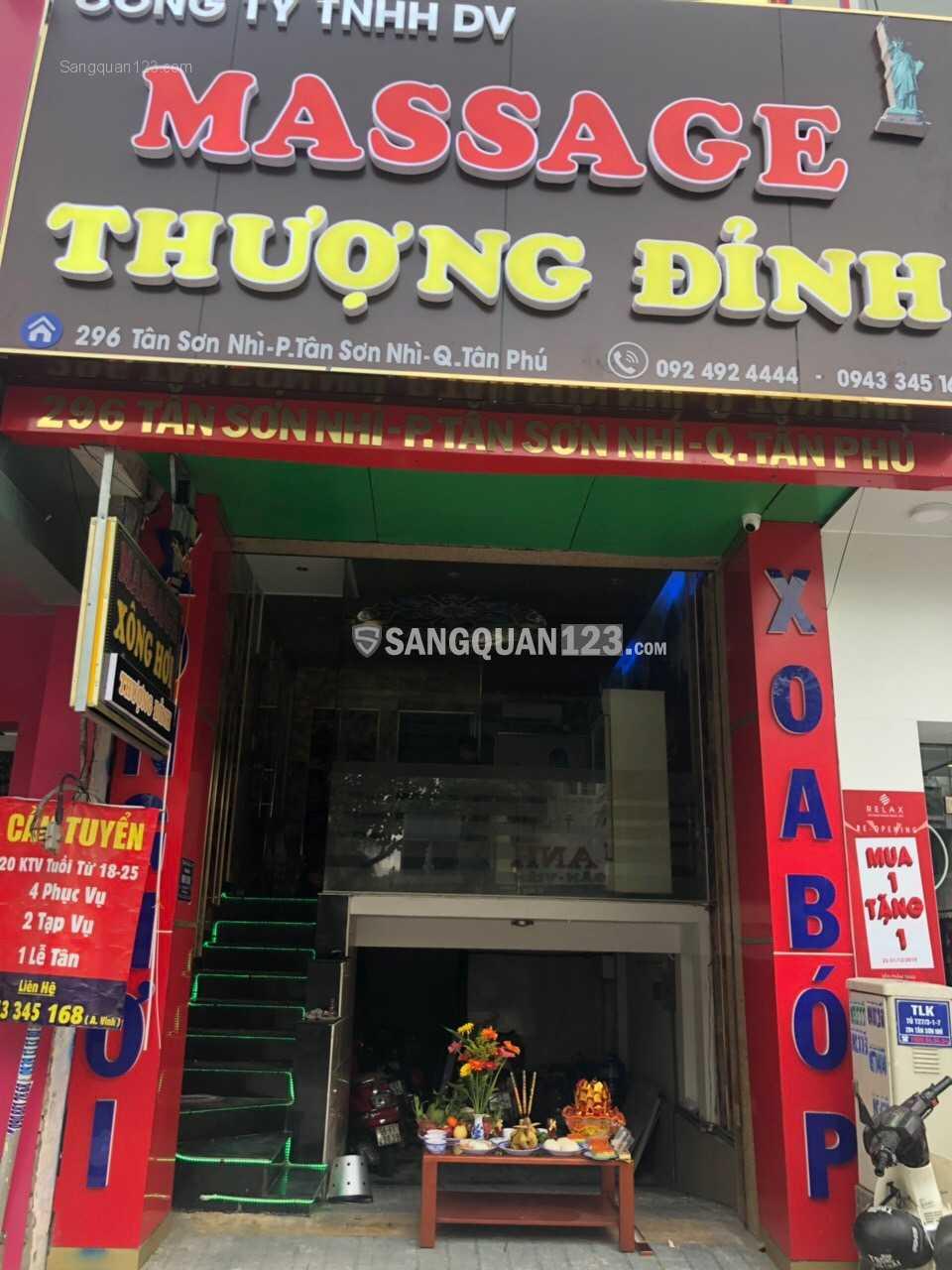 Sang quán Massage đang hoạt động tại Tân Sơn Nhì